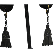 antique Victorian Mourning dyed carved Horn Drop Earrings