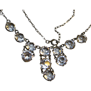 Edwardian Nouveau open back Crystal Drops Sterling Necklace