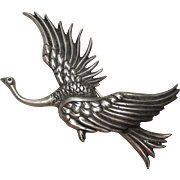 Rare 1940s Sterling Danecraft Victor Primavera Large Bird Brooch pin reg.us.pat.off