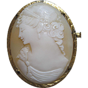 Stunning Left Face Goddess Cameo Brooch pin detailed Earrings Crown