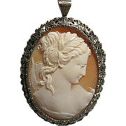 SOLD Exceptional Silver Goddess Muse Shell Cameo brooch pendant