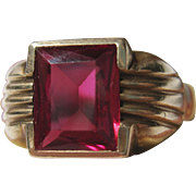 1940s Deco Ring Man's 10k yellow gold & synthetic Ruby