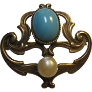 1900s antique 10k Art Nouveau pin Pearl Persian Turquoise brooch