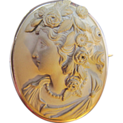 SOLD antique carved LAVA CAMEO Goddess brooch pin 10k
