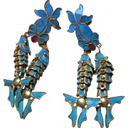 Antique Chinese KINGFISHER Feather Earrings double Fish drops