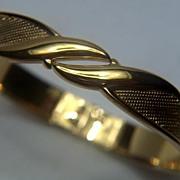 SALE Vintage signed Monet Gorgeous Bright Gold Toned Textured Clamper Bracelet