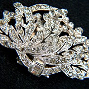 SOLD Vintage 1940s Sparkling Clear Rhinestone Dress Clip ~ Silver-toned - Red Tag Sale Item