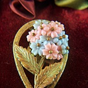 Vintage Dress Clip with Pink and Blue Plastic Flowers