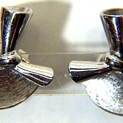 Vintage signed Trifari Silver Toned Flared Circles and Bow Clip Earrings