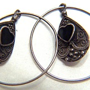 SALE Vintage Sterling Silver Continuous Hoops with Teardrop Onyx Heart Dangles