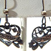 Vintage signed J Sterling Silver Sterling Silver Mother Pierced Earrings