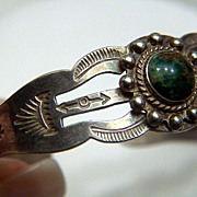 Vintage Native American Sterling and Veined Turquoise Stamped Cuff Bracelet