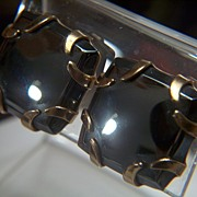 Vintage Cushion Shaped Square Hematite Clip Earrings