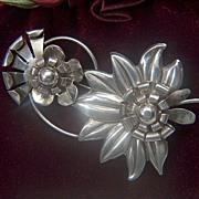 "Vintage STUNNING 1930s Retro Sterling Silver BIG BOLD 3"" Floral Pin Brooch"