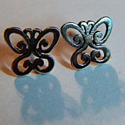 Vintage signed James Avery Sterling Silver Spring Butterfly Post Earrings