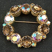Vintage signed WEISS Molded Art Glass Flowers and AB Rhinestones Brooch Pin