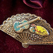 SALE Vintage signed Spain Damascene Flamenco Instruments Pin Brooch ~ older and heavy