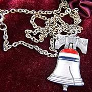 SALE vintage designer signed ART  God Bless America Liberty Bell Enamel Pendant and Chain