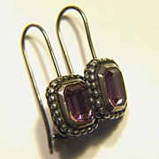 Vintage Sterling Silver and Lavender Pink Glass Stone Pierced Earrings