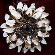 SALE Vintage Large Chrysanthemum Black White Enamel Flower Black Rhinestone Pin Brooch