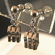 Vintage Alice Caviness Silver Toned Industrial Inspired Screw Back Earrings
