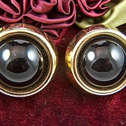 Vintage signed TRIFARI Large Black / Dark Ruby & Gold Toned Clip Earrings