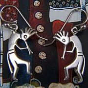Vintage Sterling Silver Native American Hopi Kokopelli French Wire Earrings