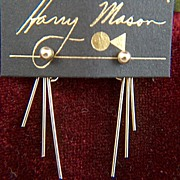 Vintage Harry Mason 14K Gold Filled Studs with Dangles Earrings ~ New on card
