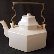 Vintage MIKASA Continental Ivory Large Covered Teapot with Solid Brass Handle ~ New In The Box