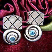 Vintage signed Cynthia Gale Sterling Silver Blue Topaz Drop Post Earrings