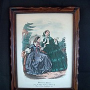 Vintage Wooden Framed Godey French Prints ~ Miroir des Modes ~ 1860s Paris Fashions