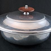 Vintage signed 1950s B.W. Buenilum Large Aluminum Covered Dish - Wood Knob