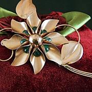 Vintage signed TRUART STERLING Vermeil Huge Flower Green Stones Brooch Pin
