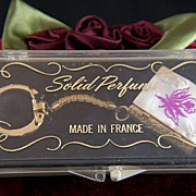 Vintage Solid Perfume Book on Keychain - Made in France