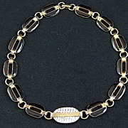 Vintage signed Lanvin Paris Couture Art Deco Inspired Black Enamel Pave Rhinestone Necklace
