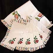 SALE Vintage NEW Embroidered Fringed Linen Tablecloth & 6  Napkins Set