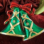 Vintage 1980s signed SFJ Enamel Christmas Bells and Red Ribbon Brooch Pin