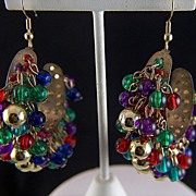 Vintage Large Cha Cha Earrings - Gold Blue Red Purple Green