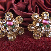 Vintage Rhinestone and Glass Beads Clip Earrings
