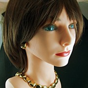 Vintage signed Anne Klein Bright Gold Toned Link Necklace and Claiborne Post Earrings