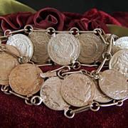 Vintage Columbia 1952 to 1964 Diez Centavos Coin Bracelet - Chief Calarca