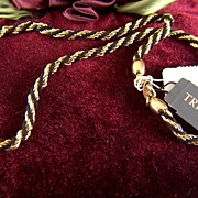 """Vintage signed Trifari Black and Gold Necklace - New with Tags - 16"""""""