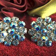 Vintage Pale Blue and Aurora Borealis Prong Set Rhinestone Clip Earrings