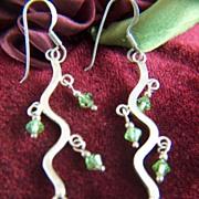 Vintage Sterling Silver Long Beaded Wavy Pierced Earrings