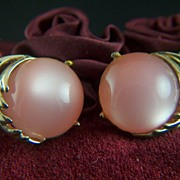 SALE Vintage signed CORO Pink Moonglow Clip Earrings