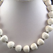 SALE Vintage Trifari White Plastic Acorn Shaped Beads Necklace