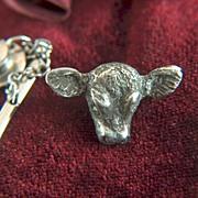 Vintage Sterling Silver Steer Head Tie Tac - Lapel Pin