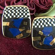 Vintage and Unusual Porcelain Checkerboard Black White Blue Gold  Enamel Clip Earrings