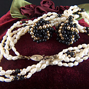Vintage 3- Strand Fresh Water Pearls Black and Gold Toned Bead Necklace and Clip Earrings -