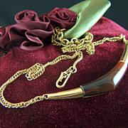 Vintage signed Crown Trifari Faux Tortoiseshell Pendant Gold Toned Necklace